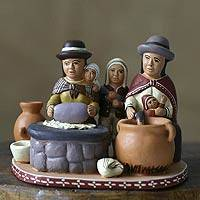 Ceramic statuette, 'Outdoor Kitchen' - Ceramic statuette