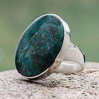 Chrysocolla cocktail ring, 'Planet' - Chrysocolla and Sterling Silver Ring Peru