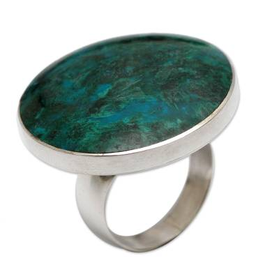 Chrysocolla and Sterling Silver Ring Peru