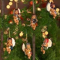Ceramic ornaments, 'Angelic Andean Choir' (set of 6)