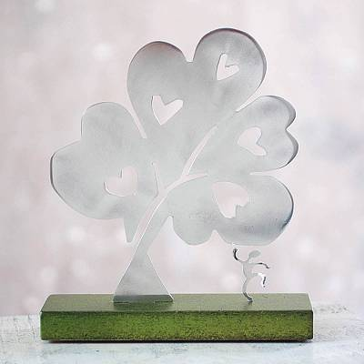 Aluminum sculpture, 'Tree of Hearts I' - Metal Art Peace Aluminum Sculpture