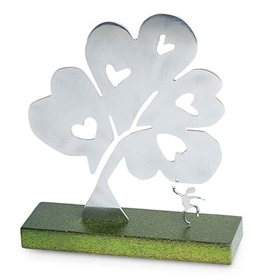 Aluminum sculpture, 'Tree of Hearts I' - Metal Art Peace Aluminum Sculpture