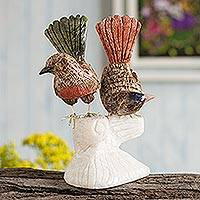 Aragonite and onyx sculpture, 'Courting Wrens' - Gemstone Bird Sculpture Aragonite Onyx