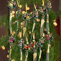 Cotton ornaments, 'Blue Christmas Carol' (set of 12)