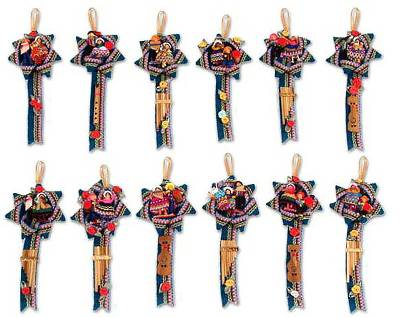 Cotton ornaments, 'Blue Christmas Carol' (set of 12) - Cotton ornaments (Set of 12)