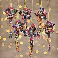 Wool ornaments, 'Rainbow Christmas Carol' (large, set of 6)