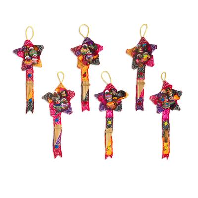 Wool ornaments, 'Rainbow Christmas Carol' (large, set of 6) - Wool ornaments (Large, Set of 6)