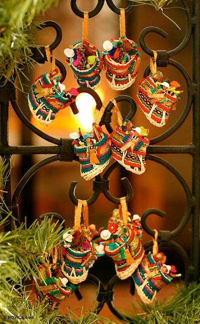 Ornaments, 'Christmas Stockings' (set of 12) - Ornaments (Set of 12)