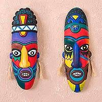 Ceramic masks, 'Colors' (pair) - Handcrafted Ceramic Folk Art Mask (Pair)
