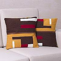 Alpaca blend cushion covers, 'Wari Colors' (pair) - Fair Trade Alpaca Blend Patterned Cushion Cover (Pair)