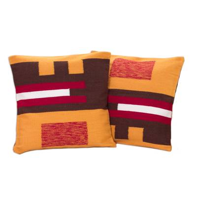 Alpaca blend cushion covers, 'Wari Art' (pair) - Alpaca Blend Brown and Yellow Cushion Covers