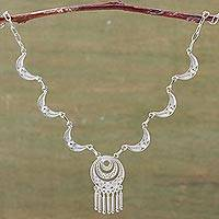 Sterling silver filigree necklace, 'Andean Moons' - Hand Made Peruvian Fine Silver Filigree Necklace
