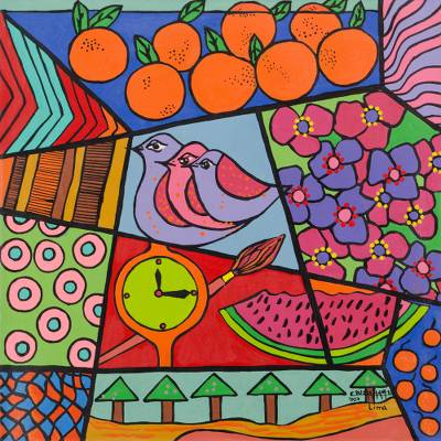 'When Oranges Fall from the Sky' (2007) - Peruvian Floral Expressionist Painting (2007)