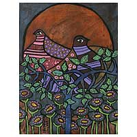 'Over Time' (2007) - Birds Original Painting Peru Modern Art (2007)