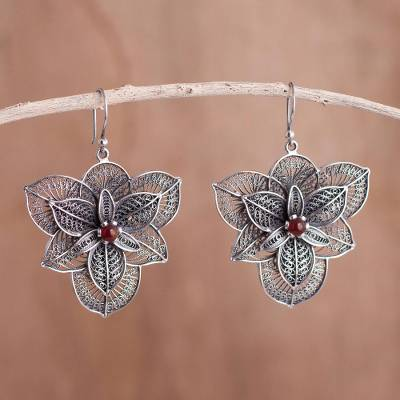 Carnelian filigree earrings, 'Bougainvillea' - Hand Crafted Fine Silver Filigree Carnelian Earrings