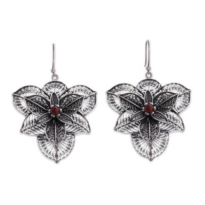 Carnelian filigree earrings, 'Bougainvillea' - Hand Crafted Fine Silver Filigree Carnelian Earrings