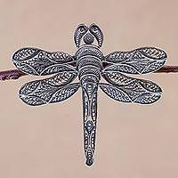Silver filigree brooch pin, 'Filigree Dragonfly' - Silver filigree brooch pin