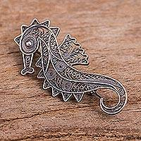 Silver filigree brooch pin, 'Filigree Seahorse' - Unique Fine Silver Filigree Brooch Pin