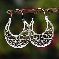 Sterling silver hoop earrings, 'Climbing Vines'
