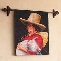 Wool tapestry, 'Little Girl with a Piglet' - Wool tapestry