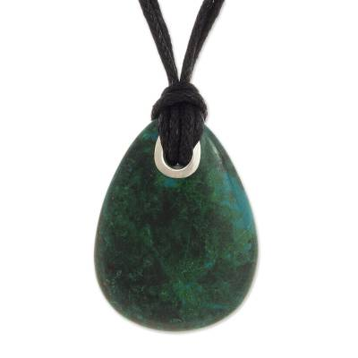 Artisan Crafted Andean Chrysocolla Pendant Necklace