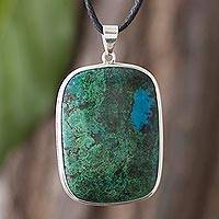 Chrysocolla pendant necklace, 'Window on the Sea'
