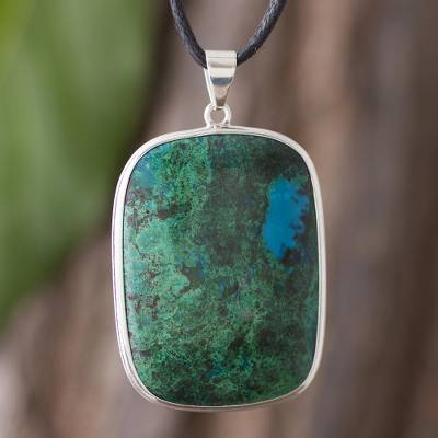 Chrysocolla pendant necklace, 'Window on the Sea' - Chrysocolla pendant necklace