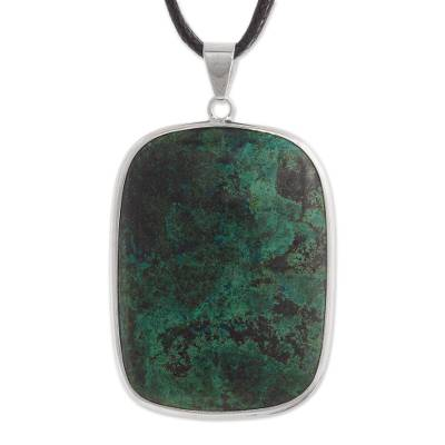 Andean Chrysocolla Pendant Necklace from Peru