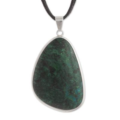 Fair Trade Chrysocolla Long Necklace with Sterling Silver