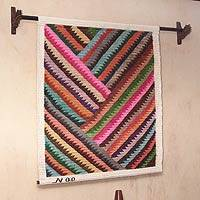 Wool tapestry, 'Zigzag Rainbow' - Wool tapestry