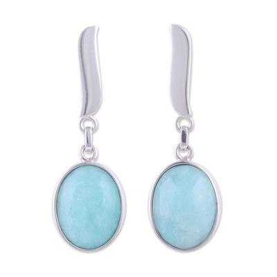 Amazonite dangle earrings, 'Celestial Flame' - Amazonite dangle earrings