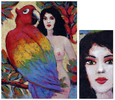 'Scarlet Macaw and Nature' - Nude with Parrot Original Fine Art Oil Painting