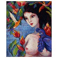 'Nature, Birds and a Bluebird' - Amazon Nude Original Fine Art Oil Painting Peru