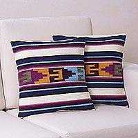 Wool cushion covers, 'Inca Paradise' (pair)