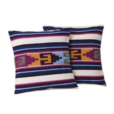 Wool cushion covers, 'Inca Paradise' (pair) - Hand Crafted Wool Striped Cushion Covers (Pair)