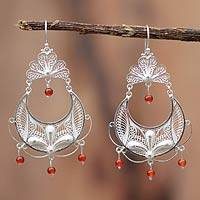 Carnelian filigree earrings, 'Filigree Dewdrops' - Hand Made Fine Silver Filigree Carnelian Earrings