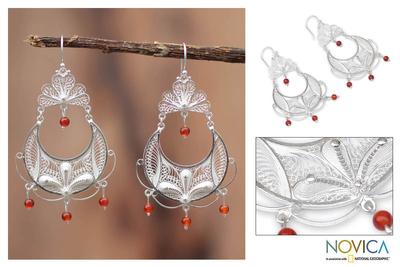 Carnelian filigree earrings, 'Filigree Dewdrops' - Hand Made Fine Silver Filigree Carnelian Earrings