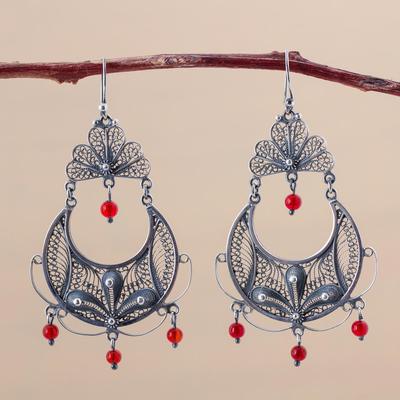 Carnelian chandelier earrings, 'Filigree Bouquet' - Handmade Fine Silver and Carnelian Chandelier Earrings
