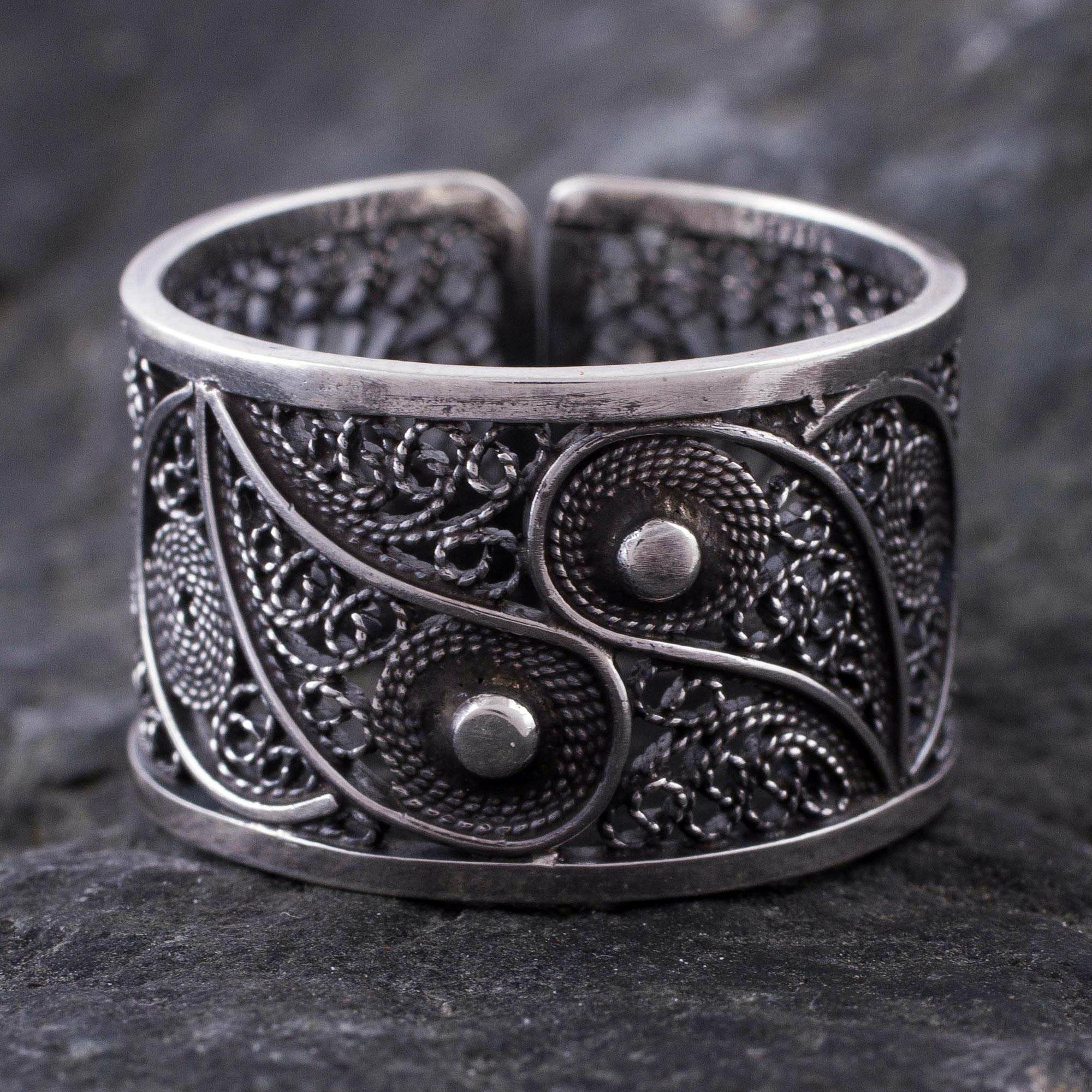 filigree and fine oxidized silver at handcrafted jewelry yin ring novica rings yang abstract