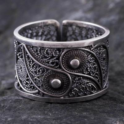 Silver filigree ring, 'Yin and Yang' - Handcrafted Oxidized Silver Filigree Ring