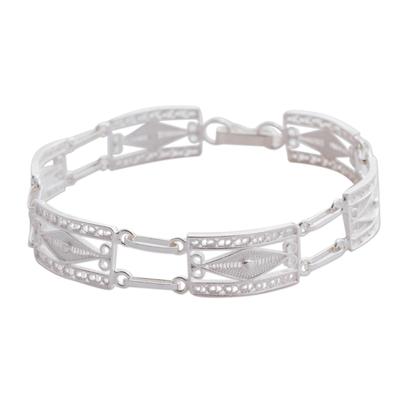 Silver link bracelet, 'Paradigm' - Silver link bracelet