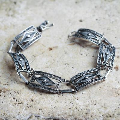 Silver filigree link bracelet, 'Antique Paradigm' - Handcrafted Sterling Silver Fine Silver Wristband Bracelet
