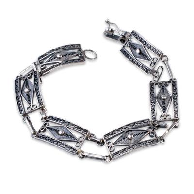 Silver filigree link bracelet, 'Antique Paradigm' - Handcrafted Sterling Silver Fine Silver Filigree Bracelet