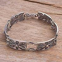 Silver wristband bracelet, 'Antique Butterfly Daisy' - Unique Fine Silver Sterling Silver Filigree Bracelet