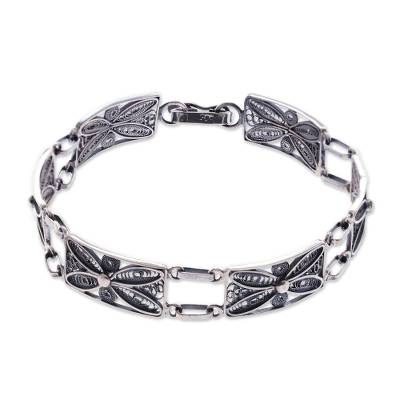 Silver wristband bracelet, 'Antique Butterfly Daisy' - Unique Fine Silver Sterling Silver Filigree Bracelet