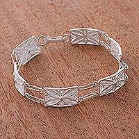 Silver link bracelet, 'Butterfly Daisy' - Unique Fine Silver Filigree Link Bracelet