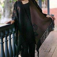 Reversible alpaca blend ruana cloak, 'Mocha Blossom' - Fair Trade Womens Floral Alpaca Wool Wrap Ruana