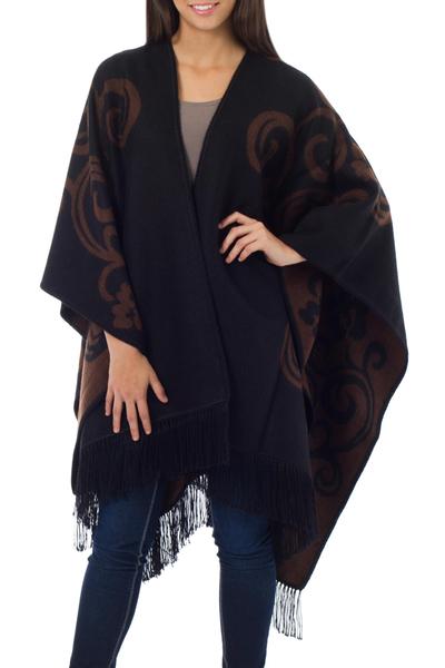 Reversible alpaca blend ruana cloak, 'Mocha Blossom' - Fair Trade Womens Floral Alpaca Wool Wrap Ruana