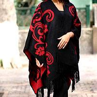 Reversible alpaca blend ruana cloak, 'Strawberry Blossom'