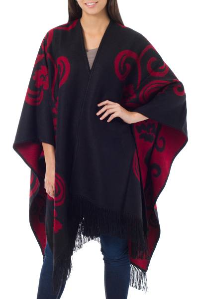 Reversible alpaca blend ruana cloak, 'Strawberry Blossom' - Handcrafted Alpaca Wool Reversible Black and Red Wrap